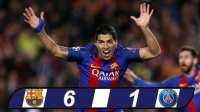 Champions League: Barca 6-1 PSG